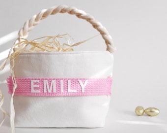 Personalized Easter Basket - Small Large - Boy Girl - Monogram Name - Egg Hunt, Spring Home Decor, Decoration - 14 Colors (Light Pink Shown)