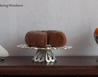 Silver Filigree Cake Pedestal in 1:12 Scale for Dollhouse Miniature Dining or Wedding Banquet