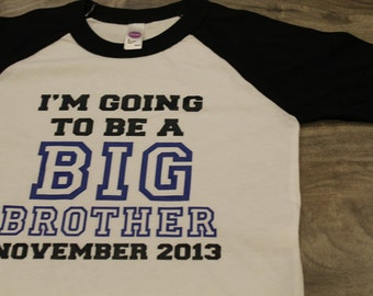 BIG BROTHER announcement shirt - Kid's personalized big bro date raglan baseball shirt