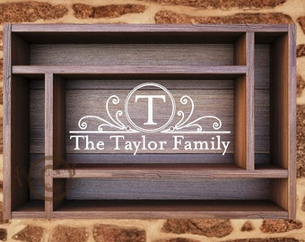 Personalized Framed Initial with Family Name - Vinyl Wall Art