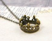 Crown Pendant Necklace in Brass