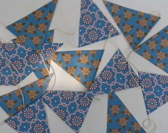 Bunting paper flag garland - floral print teal blue pink brown - birthday wedding party