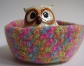 felted wool bowl rainbow bright pink green orange turquoise container mini storage basket