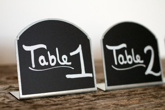 7 Silver Metal Chalkboard Table Number Signs ROSIE for Weddings Farmers Market Sign Wedding Gift Candy Bar Featured on Etsy Wedding Trends