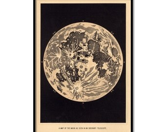"""Vintage moon art print, poster of the moon, large print up to 30"""" x 42"""" - 056"""
