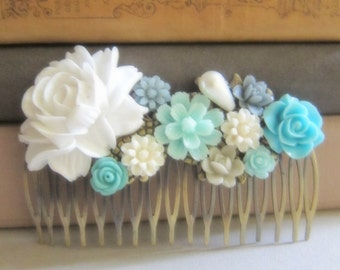 Blue Wedding Comb Turquoise White Mint Blue Bridal Hair Comb Pastel Teal Flower Statement Floral Headpiece Maid of Honor Bridesmaid Gift