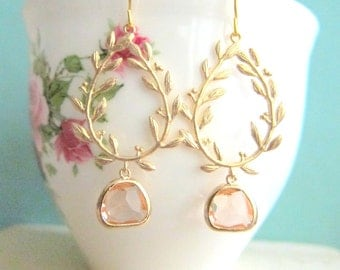 Bridal Earrings Peach Gold Champagne Wedding Jewelry Bridesmaid Gift Dangle Earrings Twine Branch Gold Wreath Glass Drop Dangling Earrings