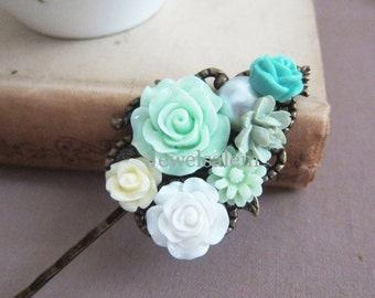 Mint Wedding Hair Clip Teal Flower Bridal Turquoise Green Floral Hair Pin Set Barrette Bridesmaids Hair Accessories Affordable Personalized