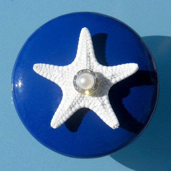 Knobs with Starfish, Swarovski Crystal and Pearl Rhinestone - Navy Blue