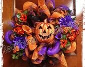 Pumpkin Mesh Halloween Wreath