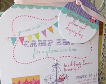 Girls Camping Mason Jar Die Cut  Birthday Invitation - Custom Die Cut