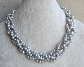 Gray Pearl Necklace,18 Inches 4 Rows 5-5.5mm Genuine Fresh Water Pearl Necklace,wedding Necklace,bridesmaid necklace,statement necklace