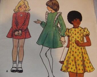 1970s Butterick 6988 Children's and Girls' Dress  - Size 4