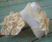 Barefoot Sandals -Ivory Cream Flower Clusters w/ Rhinestones - Matching Set with Headband Optional