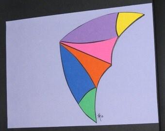 Purple, Blue, Orange, Yellow, Green, Pink, Kite, Washington, Handcut Paper, Original Art, Fly a Kite, Pacific Northwest, Beach, Ocean Shores