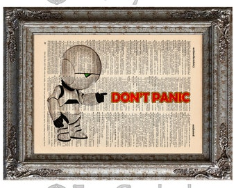 Marvin the Paranoid Android on Vintage Upcycled Dictionary Page Book Art Print Recycled bookworm gift