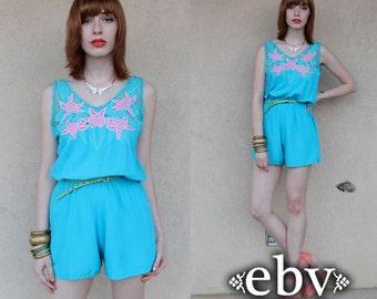 Vintage 70s Blue Crochet Floral Shorts Romper Vintage Romper Blue Romper Vintage Playsuit Crochet Romper Crochet Jumpsuit Festival Dress