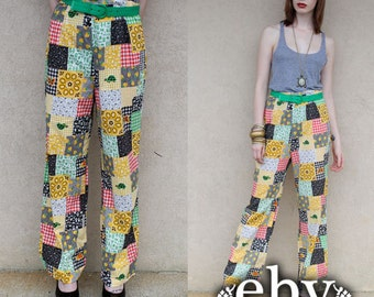 Vintage 60s Patchwork High Waisted Hippie Boho Wide Leg Pants  M L Patchwork Pants High Waisted Pants High Waist Pants Hippie Pants