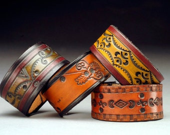 Hand Tooled and Hand Dyed Leather Cuff Bracelets