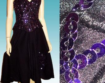 Vntg ALYCE DESIGNS Purple Sequin on  Black Peplum Dress UNWORN Gaucho Skirt Bust 36