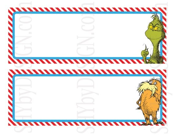 Name Plates Set of 12 Printable Dr. Seuss Character by shydesign
