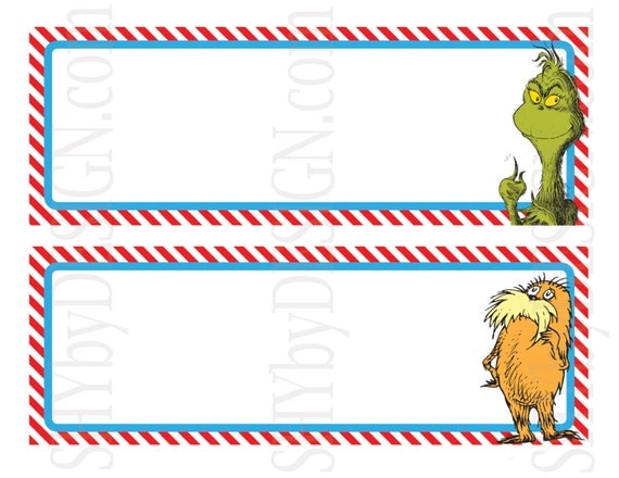 Name plates set of 12 printable dr seuss character by for Dr name tag template