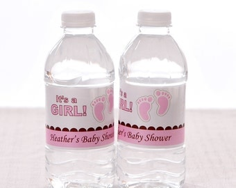 Baby Shower Water Bottle Labels - Waterproof and self stick