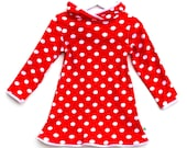 Red Christmas dress Mrs Claus santa girls spotted outfit bright jersey cotton hoodie spots pointed hood long sleeve rainbow - OliveAndVince