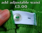 Adjustable waist optional extra feature for Olive and Vince trousers additional sizing expandable button hole elasticated childrens clothing