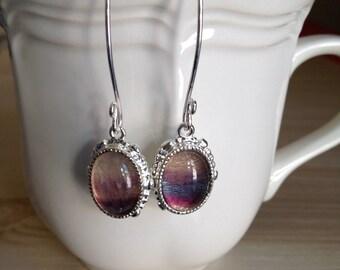 Unique Rainbow Fluorite Sterling Silver Earrings