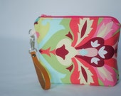 Zippered wristlet clutch- floral, bold pastels, brown leather strap