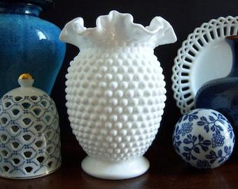 Fenton Hobnail Milk Glass Vase - Large Hobnail Milk Glass Vase - Wedding Milk Glass - Double Crimped Hobnail  Milk Glass Vase - Wedding Vase
