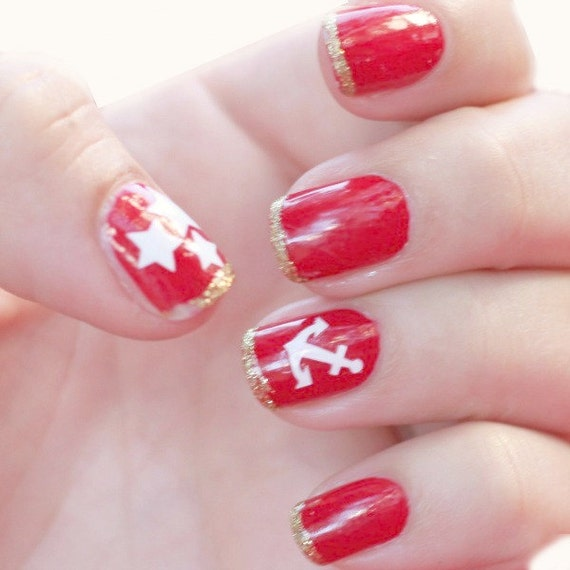 NAILED IT DECALS: 1 Sheet of 36 Anchor and Star Nail Decals (You Pick the Color)