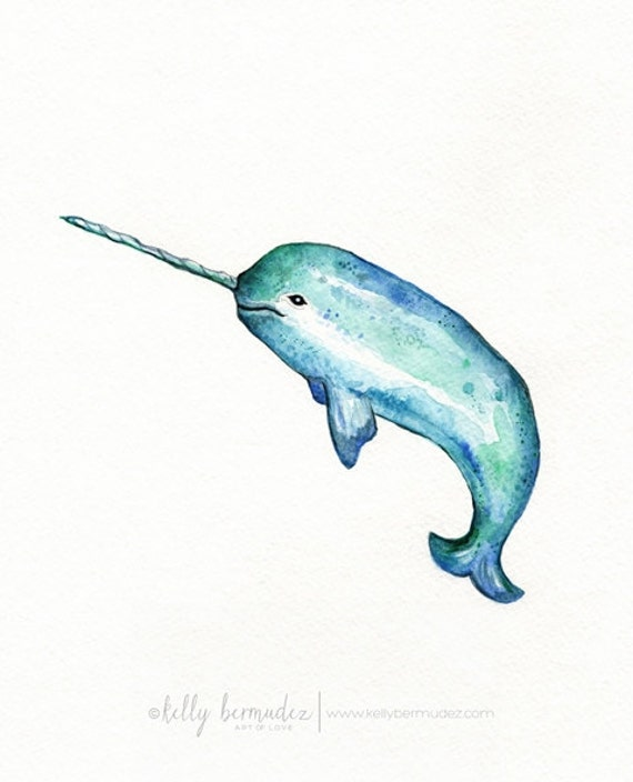 Items Similar To Narwhal/ Watercolor Print/teal/light