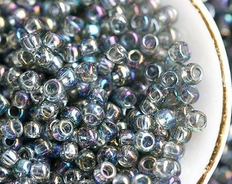 TOHO beads, size 11/0, seeds - Transparent Rainbow Grey, N 176B, rocailles, round glass beads - 10g - S036
