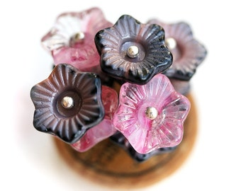 Glass flower beads, Pink Grey mix, Czech glass,13mm Bell, large flowers - 8Pc - 1170