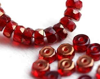 Ruby Red Rondelle beads, copper luster, fire polished czech glass spacers - 6x3mm - 25Pc - 0750