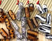 Animal Print Design Handmade Faceted Lampwork Glass Beads (2-Beads Pack) L10112