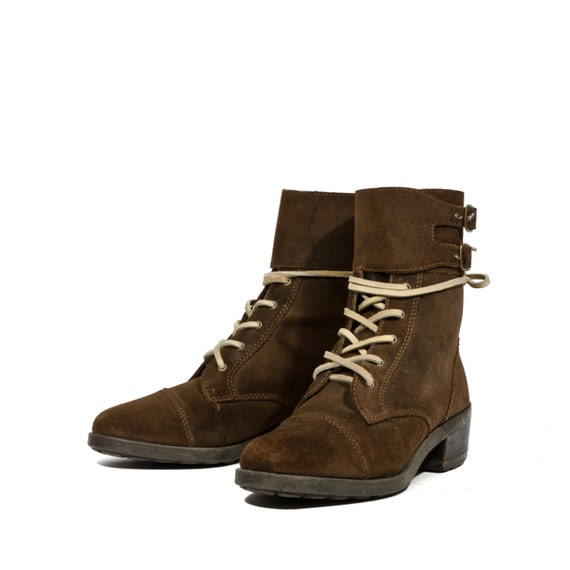 chic brown suede lace up ankle boots by