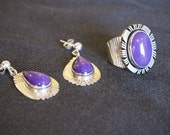 Gilo and Grace Nakai Sugilite and Sterling Ring and Earrings