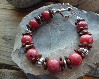 Red and Brown Beaded Bracelet