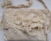 Tattered Victorian Bag French Shabby Bridal Crochet Doily purse BoHo Romantic Vintage style Creams  Upcycled Vintage finds