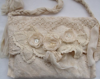 Tattered Victorian Bag French Bridal Crochet Doily purse BoHo Romantic Vintage style Creams  Upcycled Vintage finds
