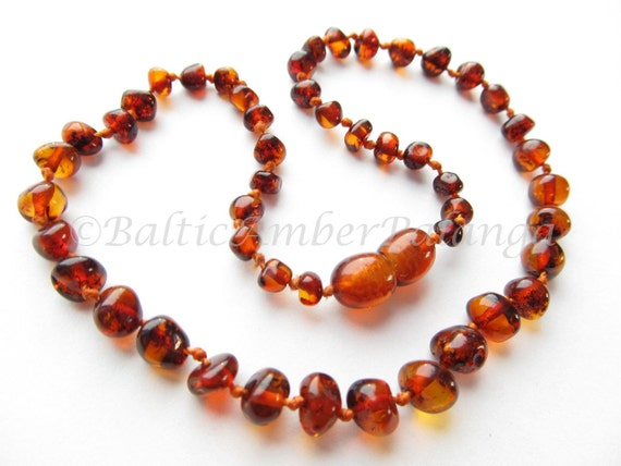 Baltic Amber Baby Teething Necklace Rounded Dark Cognac Color Beads
