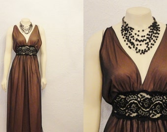 Vintage Nightgown 60s Intime Negligee Greek Goddess Mad Men Brown & Black Chiffon Old Hollywood Glamour Modern s m l RARE