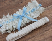 Bridal Garter  - Wedding Garter - Bridal Garter Set - Vintage Inspired Bridal Garter - Something Blue Garter Set (Ivory,White or Black Lace)