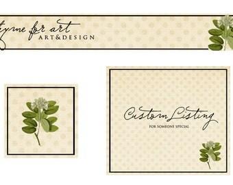 Custom Etsy Shop Set Premade Etsy Set Shabby Chic Vintage with Botanicals for Etsy Shops and Blog Headers Facebook Timeline