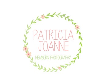 Custom Logo Design Premade Logo and Watermark for Photographers and Small Crafty Boutiques Watercolor Laurel Floral Wreath Hand Drawn