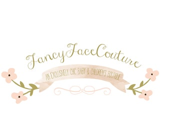 Custom Logo Design Premade Logo and Watermark for Photographers and Small Crafty Boutiques Shabby Chic Floral with Watercolor Banner