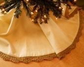 "Beaded Tree Skirt hand knit trim  48"" Diameter"